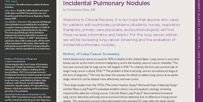 Respiratory Reader Lung Cancer Issue Part 2 January 2019