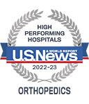 One of the best national hospitals, ranked in orthopedics by U.S. News and World Report.